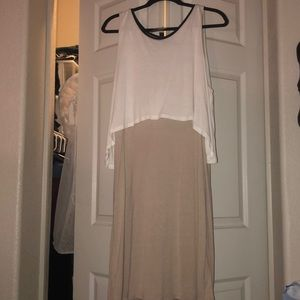 Beige and white dress